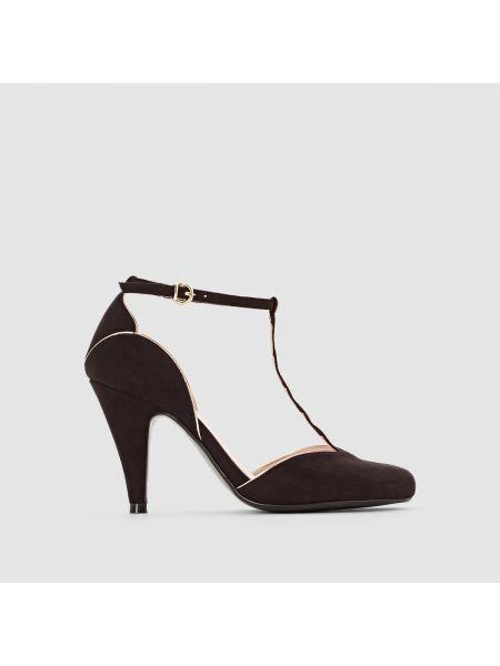 Туфли на каблуке кожаные с ремешком La Redoute Collections
