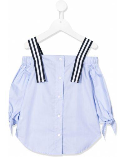 С рукавами блузка с открытыми плечами в полоску Lapin House