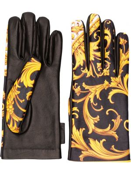 Желтые кожаные перчатки с заплатками Versace