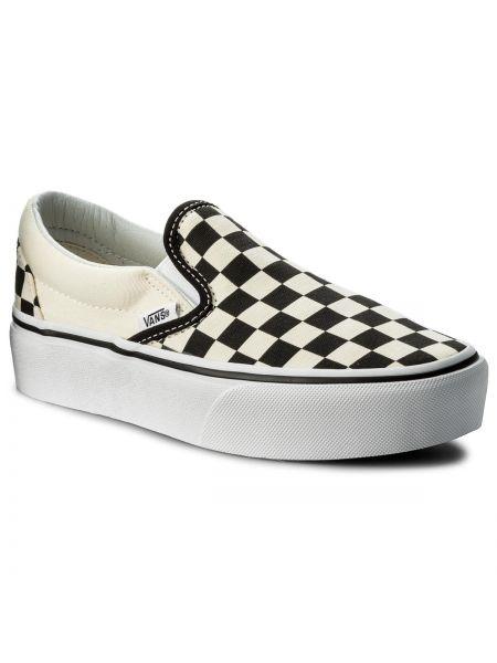 Slipony biały czarny Vans