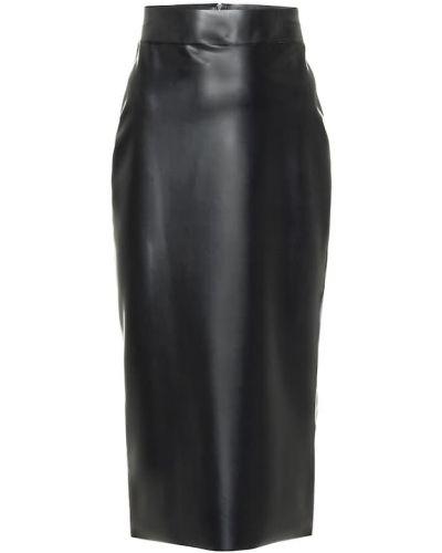 Клубная черная юбка миди латексная Saint Laurent