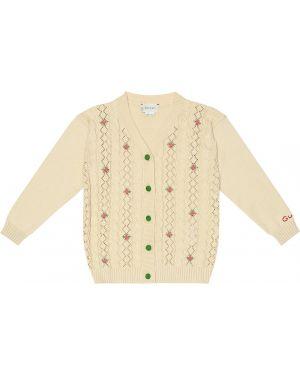 Biały kardigan z haftem bawełniany Gucci Kids