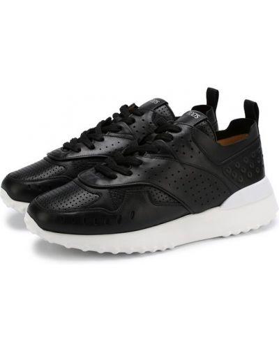 Кожаные кроссовки черные свободного кроя Tods