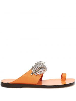 Pomarańczowe sandały plaskie skorzane Nicholas Kirkwood