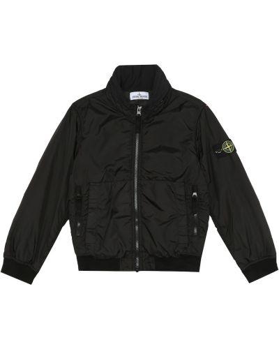 Куртка с капюшоном - черная Stone Island Junior