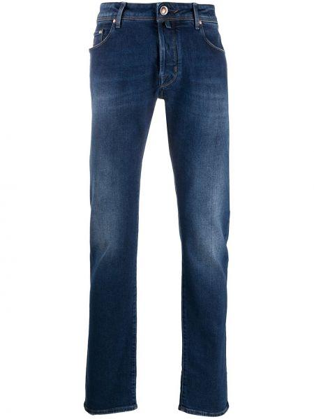 Bawełna niebieski prosto jeansy o prostym kroju z paskiem Jacob Cohen