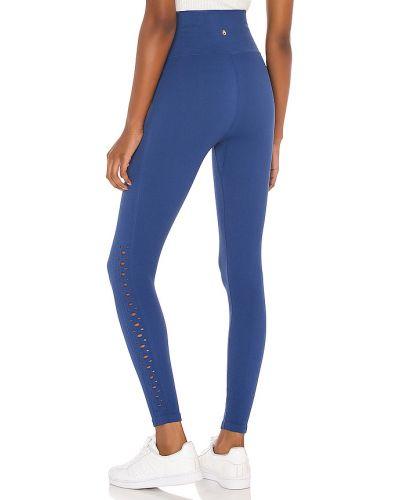 Prążkowane niebieskie legginsy z nylonu Spiritual Gangster