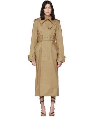 Длинное пальто бежевое без воротника Mugler