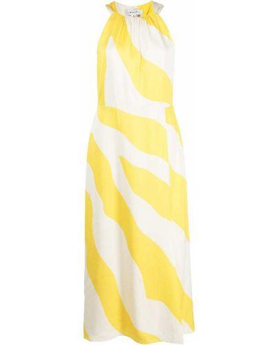 Желтое платье миди с разрезом из вискозы Milly