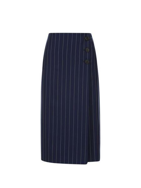 Деловая синяя юбка миди с запахом в рубчик Ralph Lauren