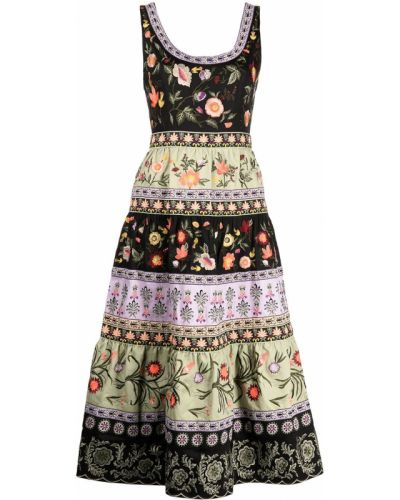 Хлопковое платье миди - черное Alice+olivia