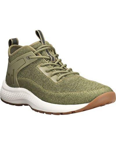 Хлопковые зеленые кроссовки на шнурках Timberland