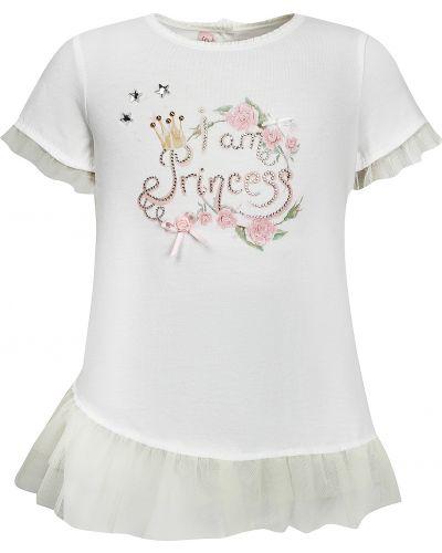 Хлопковая футболка - белая Miss Blumarine