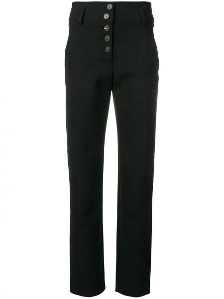 Czarne spodnie wełniane z paskiem Carven