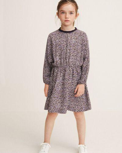 Длинное платье с рукавами в клетку Mango Kids