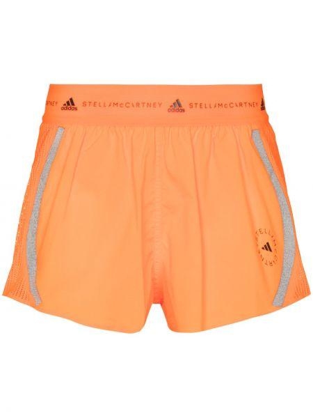 Pomarańczowy szorty bezpłatne cięcie z siatką do biegania Adidas By Stella Mccartney