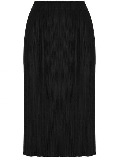 Черная с завышенной талией юбка миди с разрезом с поясом Pleats Please Issey Miyake