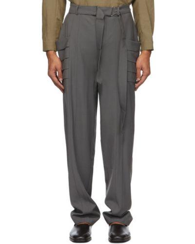 Spodnie wełniane z paskiem Vejas