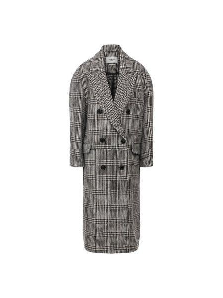 Шерстяное серое длинное пальто с лацканами с капюшоном Isabel Marant Étoile