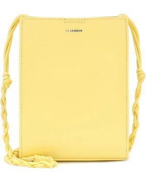Желтая кожаная маленькая сумка Jil Sander