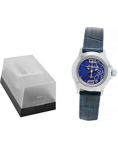 Klasyczny zegarek mechaniczny srebrny granatowy Vostok