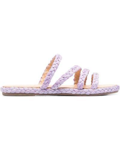 Fioletowe sandały skorzane peep toe Manebi