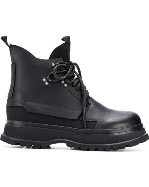 Черные кожаные ботинки на шнуровке Artselab