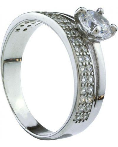 Кольцо с фианитом металлическое серебра