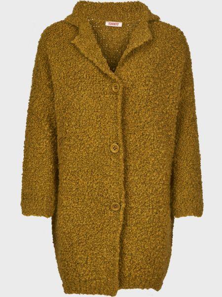 Зеленое шерстяное пальто на пуговицах Kontatto