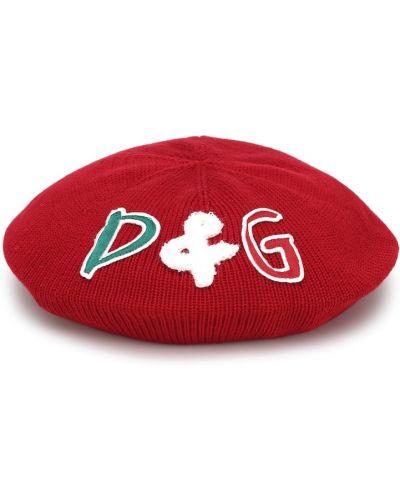 Beret wełniany z haftem Dolce & Gabbana Kids