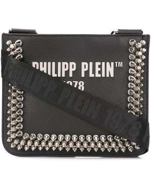 Черная кожаная сумка через плечо на молнии Philipp Plein