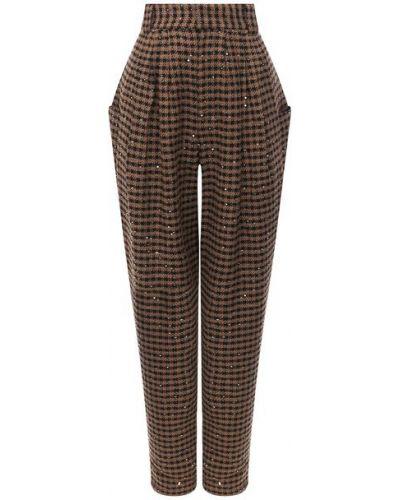 Шерстяные коричневые брюки с защипами в клетку Alessandra Rich