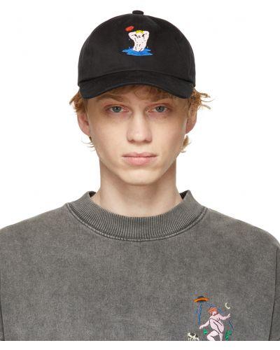 Czarna czapka bawełniana z haftem Carne Bollente