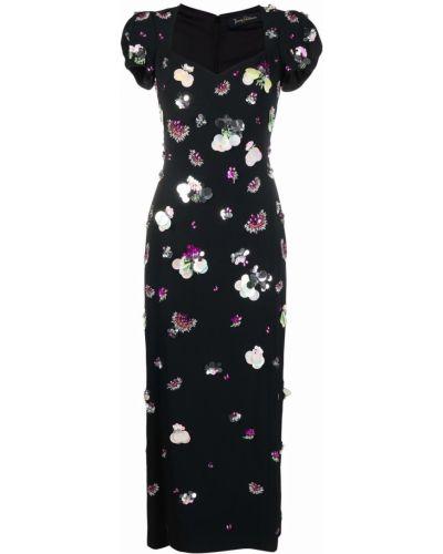 Черное платье миди с короткими рукавами Jenny Packham