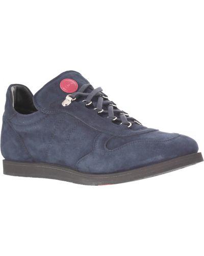 Кожаные кроссовки - синие Kiton
