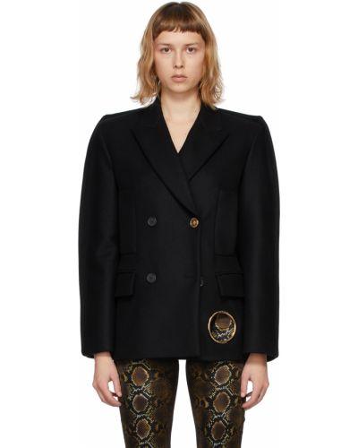 Czarny długi płaszcz wełniany z długimi rękawami Versace