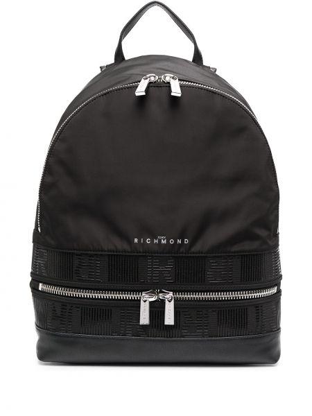 Нейлоновый черный рюкзак на молнии John Richmond