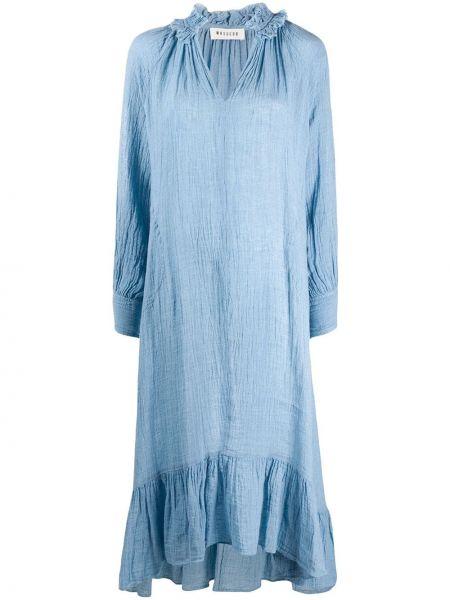 Синее свободное платье на молнии свободного кроя Masscob
