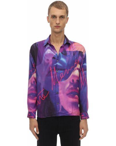 Fioletowa koszula z jedwabiu z printem Limitato
