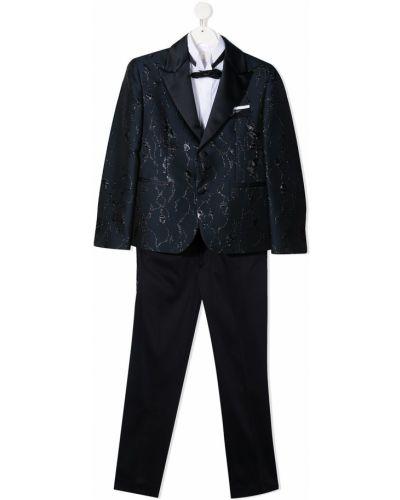 Czarny garnitur bawełniany z długimi rękawami Colorichiari