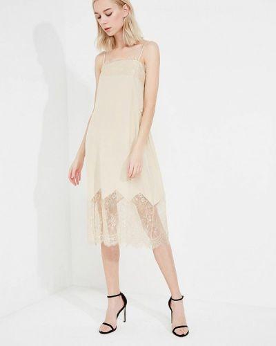 Бежевое платье с открытыми плечами Twin-set Simona Barbieri
