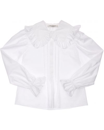 Biała koszula bawełniana z falbanami Philosophy Di Lorenzo Serafini