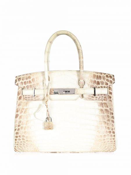 Белая сумка на молнии Hermès