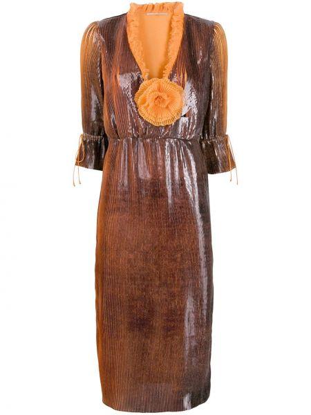 Платье миди с декольте с оборками Marco De Vincenzo
