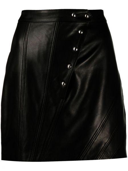 Шелковая черная приталенная асимметричная юбка мини Iro
