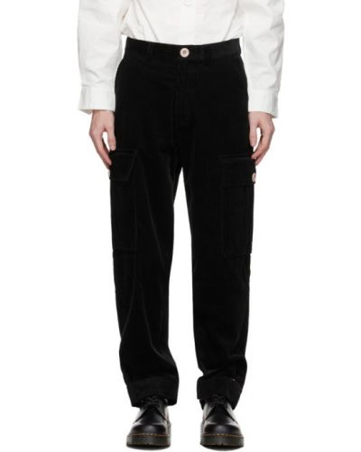 Czarne spodnie sztruksowe z paskiem Landlord