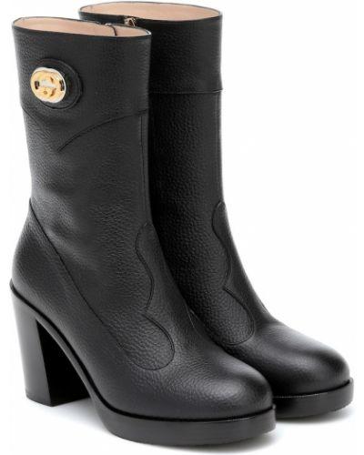 Skórzany czarny buty skórzane Gucci