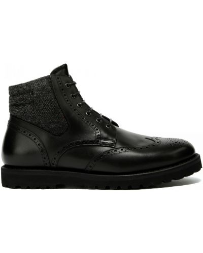 Кожаные ботинки на шнуровке круглые Franceschetti