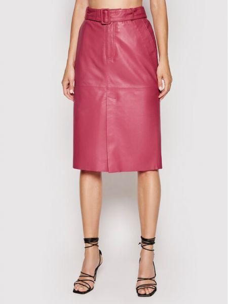 Różowa spódnica skórzana Custommade