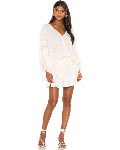 Beżowy światło z rękawami sukienka mini z dekoltem L'academie